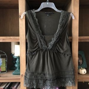 Olive White House Black Market Lace Tank -J8